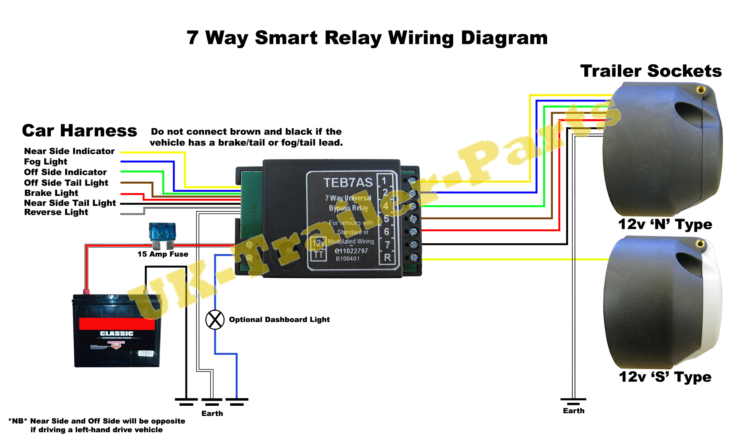 7 Way universal bypass relay wiring diagram | UK-Trailer-Parts