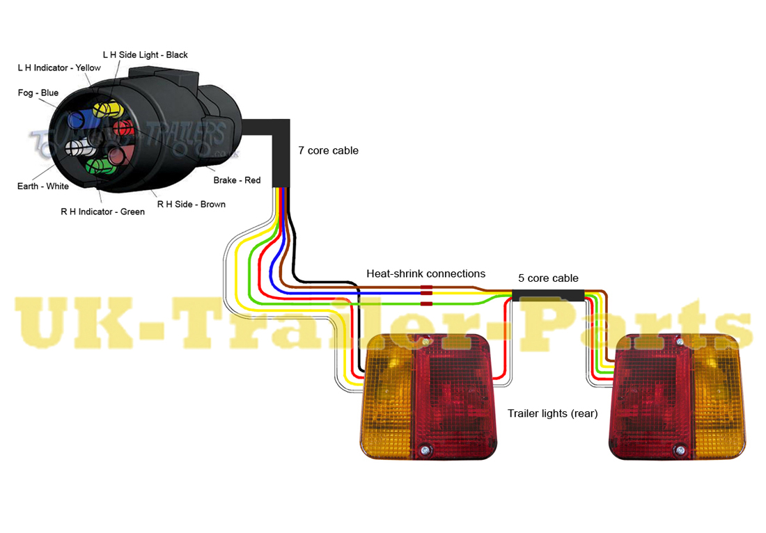 7 pin 'N' type trailer plug wiring diagram | UK-Trailer-Parts Wiring Trailer Lights Diagram on