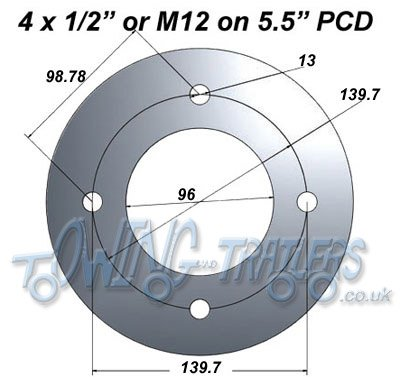 "4 x 1/2"" or M12 on 5.5"" PCD"