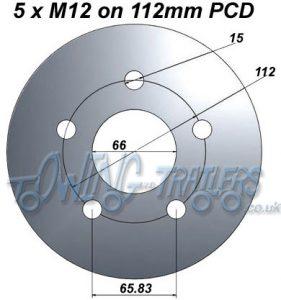 5 x M12 on 112mm PCD