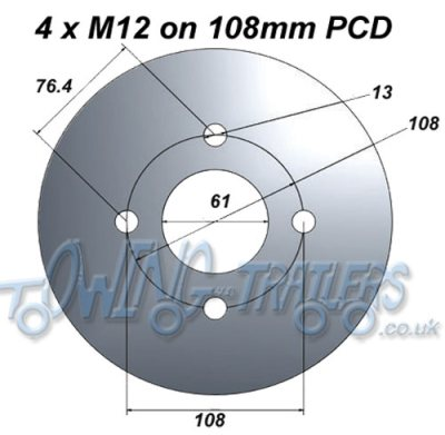 4 x M12 on 108mm PCD