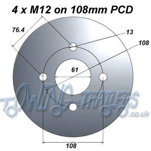 4 x M12 on 108mm PCD